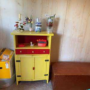 Lot #328 - Cute Child Size Cabinet, Small Wood Toy Box, Vintage View Master