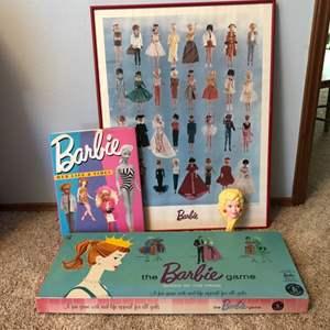 Lot # 35 - Vintage Barbie Framed Poster, Game, Hair Brush & Book
