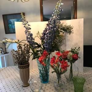 Lot # 67 - Six Nice Vases w/Faux Flowers