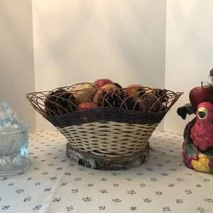 Lot # 69 - Large Center Piece w/Faux Fruit & Glass & Ceramic Turkeys