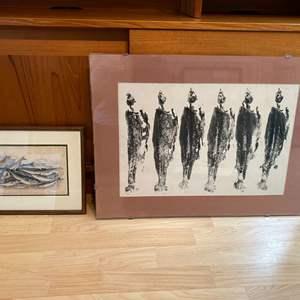 Lot # 94 - Signed Artwork by D.Allaud, Antique Fish Print by J.Stewart Del & J. Miller Sc.