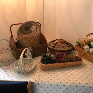 Lot # 127 - Basket Lot: Baskets of Various Sizes, Faux Grapes, Leather Basket from Ghana & Faux Flowers