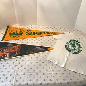 Lot # 154 - Vintage Sonics Items; T-Shirt, Pennants