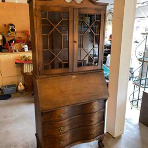 Lot # 179 - Gorgeous Antique Two Piece Secretary Desk w/Curio Cabinet, Claw Feet & Dovetail Drawers