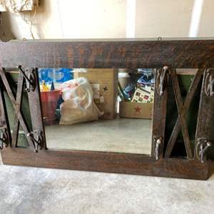 Lot # 200 - Awesome Antique Entryway Coat Rack w/Mirror