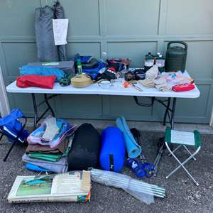 Lot # 233 - Camping & Outdoor Items: Coleman Tent, Propane Lantern, Primus stove, Canteens, Sleeping Bags & More..