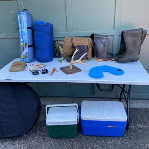 Lot # 234 - Outdoor Items: Three Sets of Waders, Coolers, New Tent, Cobra Walkie Talkie, Portable Fire Pit, Antlers & More..