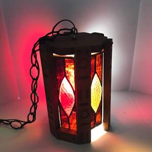 Lot #275 - Stained Glass Mid-Century Swag Lamp - Works