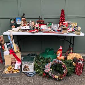 Lot #277 - Large Selection of Christmas Items: Vintage Small Outdoor Light, Tree Stand, Various Small Houses, Figurines & More..