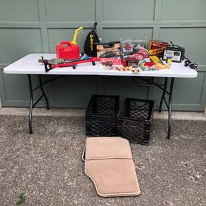Lot #289 - Gas Cans, Beam Spotlight, Cobra Cable Chain, Car Rugs, Battery Charger & More..