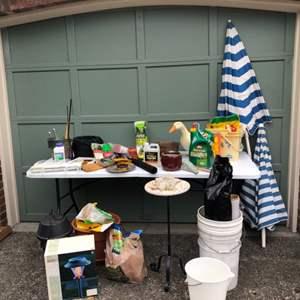 Lot #292 - Gardening Items: Fertilizer, Pots, Tools, Bug Zapper