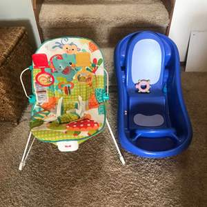 Lot # 301 - Fisher Price Animal Party Bouncer & Infant Bathtub