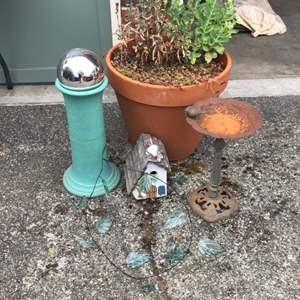 Lot #305 - Large Potted Plant, Gazing Ball, Bird Bath, Glass Leaves