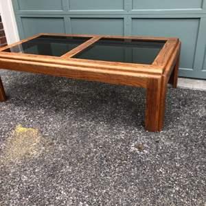 Lot #312 - Oak Coffee Table w/Glass Inserts