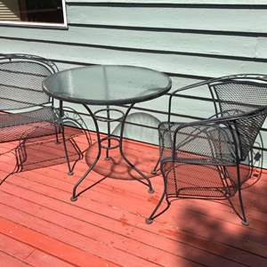 Lot #331 - Glass Top Table w/2 Chairs