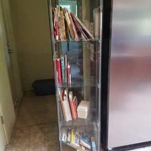 Lot # 167 Glass Curio & Cookbooks