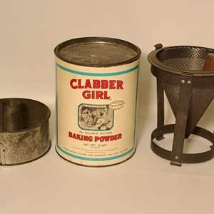 Lot # 242 Clabber Girl Tin & Vintage Kitchenware