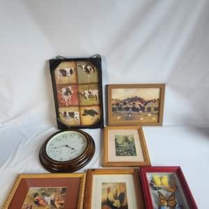 Lot # 40 Assorted Art & Clock