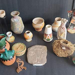 Lot # 48 Native American Style Pottery & Creature