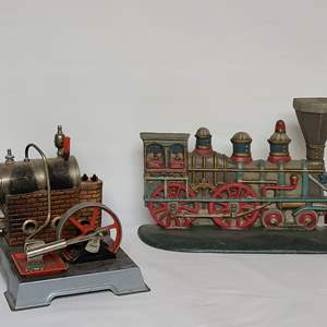 Lot # 95 German Steam Engine Model & Cast Decor