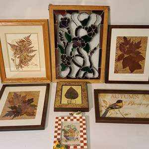 Lot # 140 Stained Glass & Pressed Leaf Art