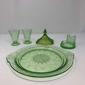 Lot # 56 - Awesome Green Toned Depression Glass Platter, Glasses & More..