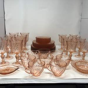 Lot # 57 - Awesome 50 Piece Set of Pink Toned Depression Glass