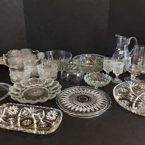 Lot # 66 - Crystal Lot: Cake Plates, Serving Bowls, Pitcher, Egg Plate, Vases & More..