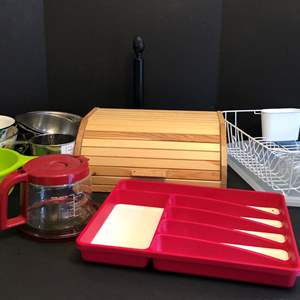 Lot # 76 - Wood Bread Box, Dish Drying Rack, Strainers, Paper Towel Holder & More..