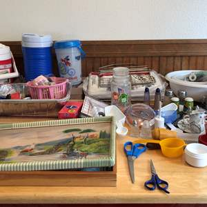 Lot # 86 - Odds & Ends, Trays, Plastic Forks, Bowls, Canister, Salt/Pepper Shakers, Table Cloths & Wood Cutting Boards