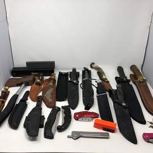 Lot # 162 - Awesome Collection of Knives w/ Sharpening Stone: Smith & Wesson, Buck & More