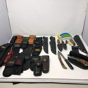 Lot # 163 - Large Collection of Knife Cases, Franklin Mint Collectors Knife, Knife Sharpening Tools