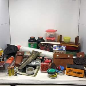 Lot # 164 - Firearm Cleaning Supplies: Gun Oil, Targets, 10mm Ammo, Air Gun Pellets, Muzzleloading & More