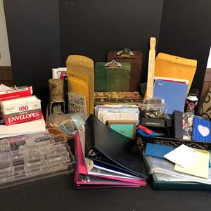 Lot # 165 - Office Supplies: Binders, Envelopes, Organizers, Clipboards, Greeting Cards, Scale & More