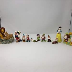 Lot # 169 - Awesome Collection of Disney Snow White & Seven Dwarfs Ceramic Figurines, Lion King Music Box
