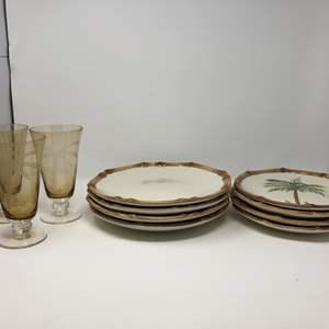 Lot # 170 - Dinner Plates & Amber Toned Glasses
