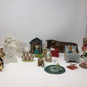 Lot # 171 - Small Selection of Figurines, Glass Candle Holders, Wood Cow, Enesco Music Box & More