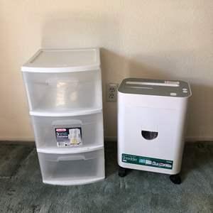 Lot # 179 - Royal Personal Crosscut Paper Shredder PX1000MX & Plastic 3 Drawer Storage