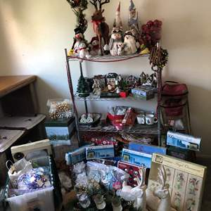 Lot # 360- Huge Christmas Lot: Leather Wrapped Reindeer, Wrapping Paper, Ornaments & So Much More!