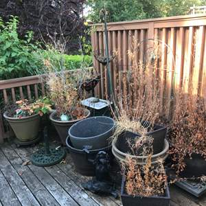 Lot # 420 - Selection of Large Outdoor Pots, Cast Iron Umbrellas Stand & More