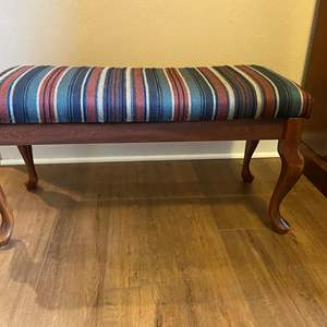 Lot # 10 - Wood Bench w/Upholstered Top