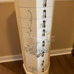 Lot # 11 - Decorative Solid Wood 8-Drawer Jewelry Chest