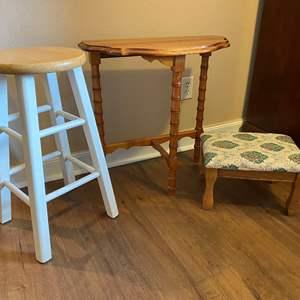 Lot # 16 - Wood Wall Hugging Table, Foot Stool, Bar Stool