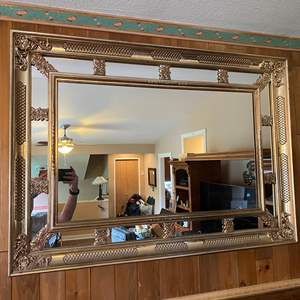Lot # 19 - Large Gold Toned Acrylic Framed Mirror