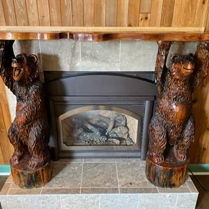 Lot # 20 - Awesome Three Piece Wood Carved Bear Fireplace Mantle