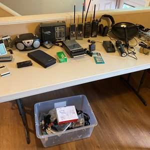 Lot # 25 - Electronics: Vintage Radios, Handheld Radios, Bionic Ear, Batteries, Misc. Cards & More..