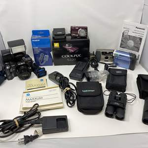 Lot # 27 - Vintage Minolta Maxxum 700i, Coolpix S220, Panasonic Camcorder, Bushell Binoculars & More..