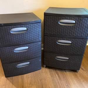 Lot # 28 - Two Brown 3-Drawer Sterilite Storage Bins