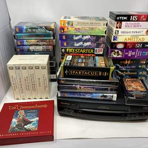 Lot # 33 - Quassar VHS Player w/Collection of VHS Tapes