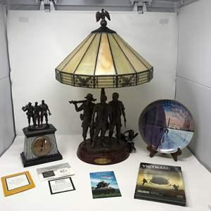 "Lot # 134 - Bronze Sculpture Heroes of Vietnam Clock, Bronze Sculpture ""The Three Service Men"" Lamp, Collector Plate & More.."